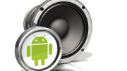 3d illustration of a large audio speaker with a metallic Google Android logo standing in front of it on a white reflective surface