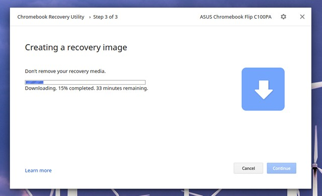 Chromebook-Recovery-Utility-downloading-files