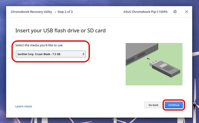 Chromebook-Recovery-Utility-select-USB
