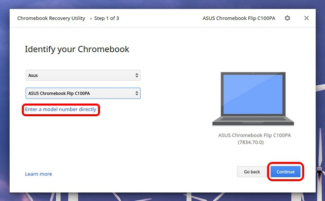 Chromebook-Recovery-Utility-select-model