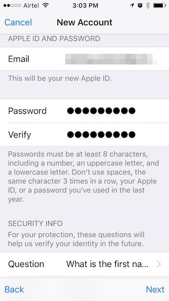 new-apple-id-step-one