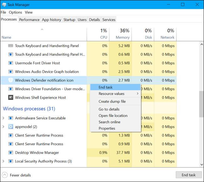 Comment faire pour supprimer l'icône Windows Defender 3