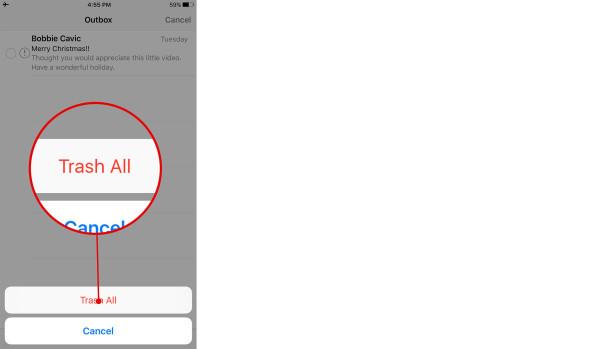 Comment supprimer les messages d'outbox bloqués sur iPhone 2