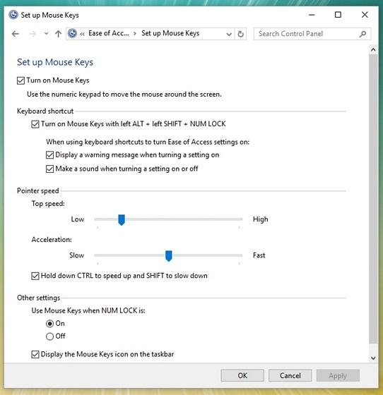 Windows-set-up-mouse-keys-control-panel