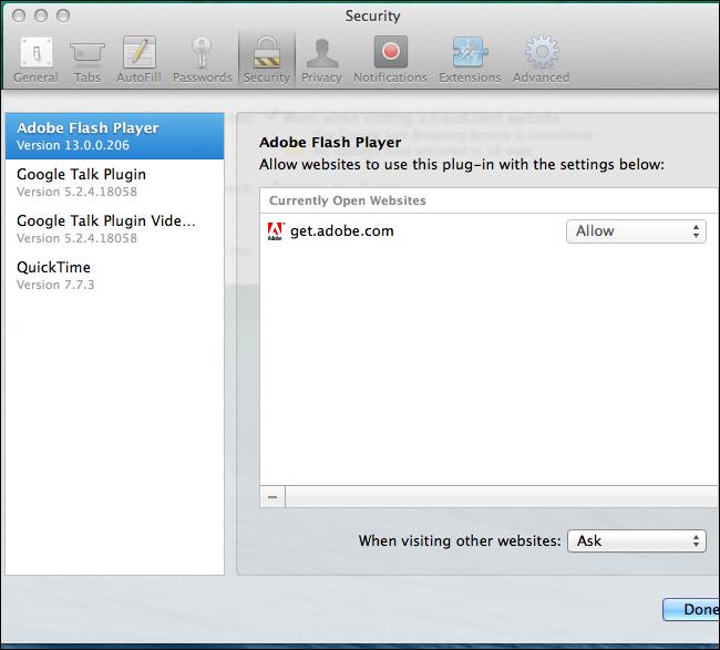 activer Click-to-Play Plugins dans tous les navigateurs Web 10
