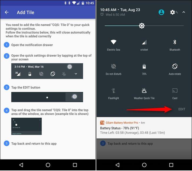 créer sur mesure Tiles pour Quick Settings Menu Android 5