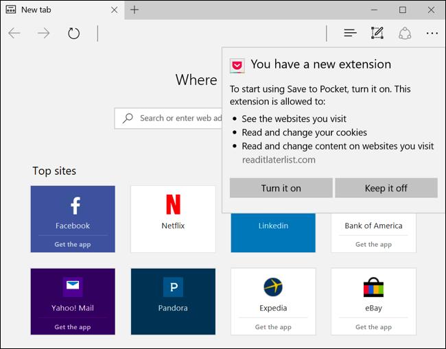 installer les extensions dans Microsoft bord 4