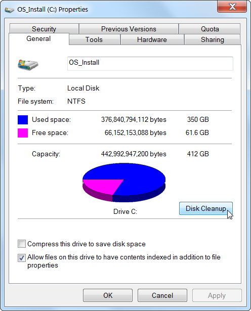 libérer l'espace disque dur Sous Windows 2