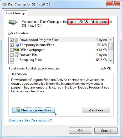libérer l'espace disque dur Sous Windows 3