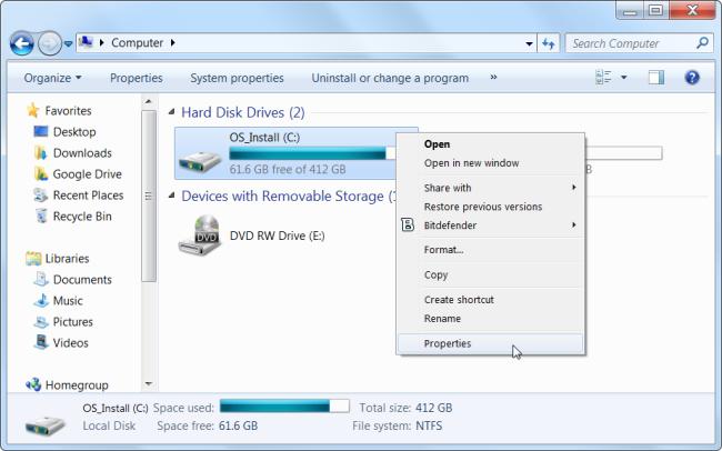 libérer l'espace disque dur Sous Windows
