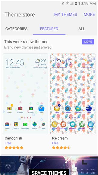 modifier les thèmes sur les dispositifs Samsung Galaxy 5