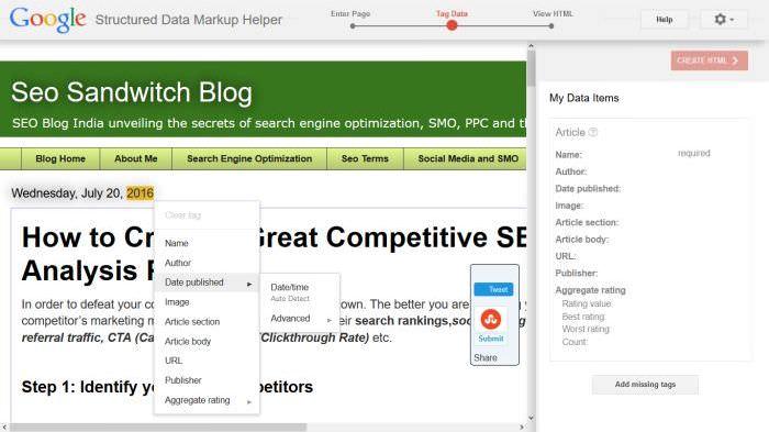Tagging en données structurées Markup Helper Google