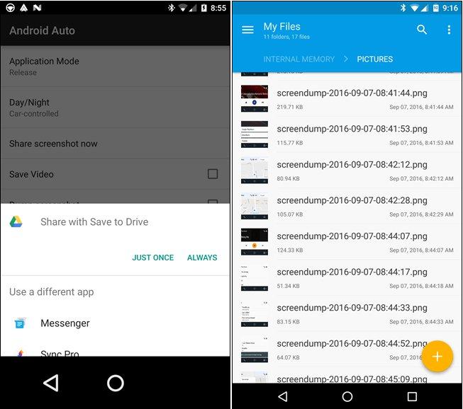 Captures d'écran sur Android Auto 3
