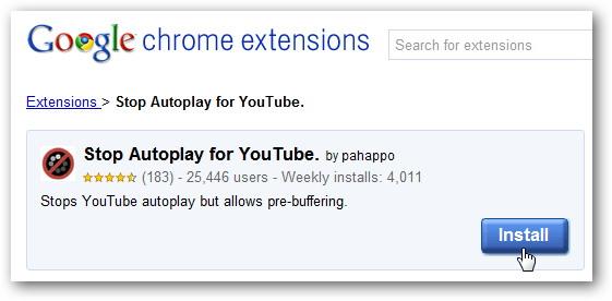 Utilisez le Autoplay Arrêt pour YouTube Extension