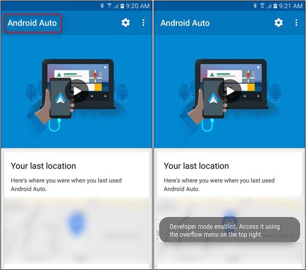 activer les paramètres de développeur sur Android Auto
