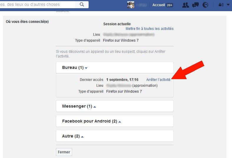autres périphériques connecté à votre compte Facebook 3