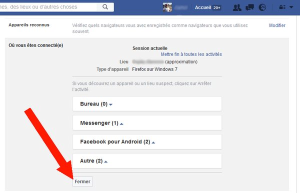 autres périphériques connecté à votre compte Facebook 5