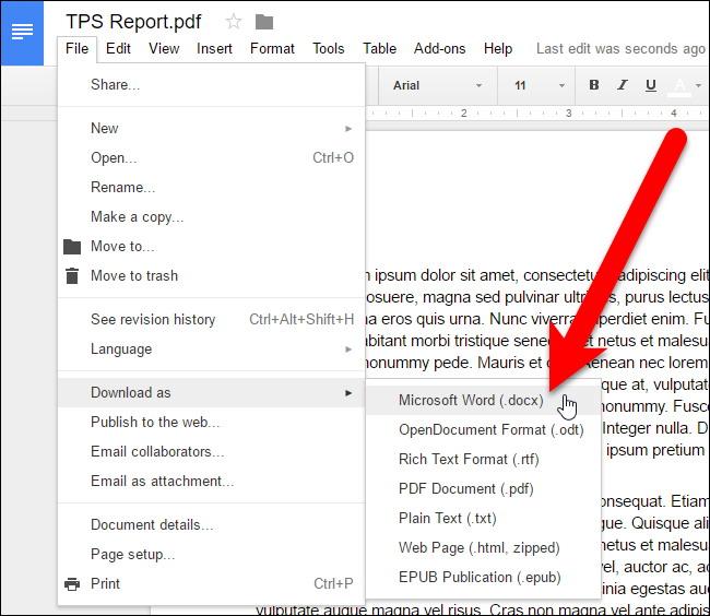 convertir des fichiers PDF et des images dans Google Docs Documents 6