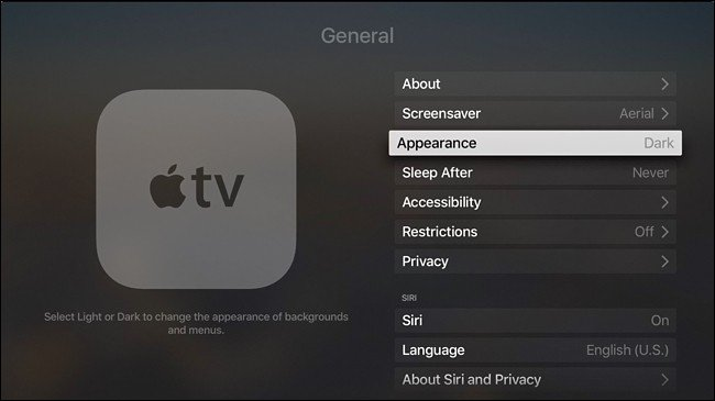 menu Apple TV