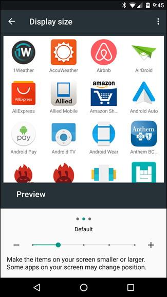 modifier la taille du texte icônes et plus dans Android Nougat 4