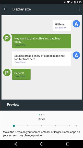 modifier la taille du texte icônes et plus dans Android Nougat 5