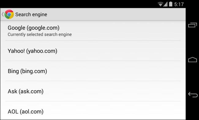 moteur de recherche par défaut sur téléphone ou tablette 1