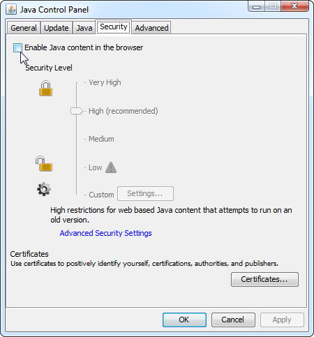 protéger contre les problèmes de sécurité Java 2