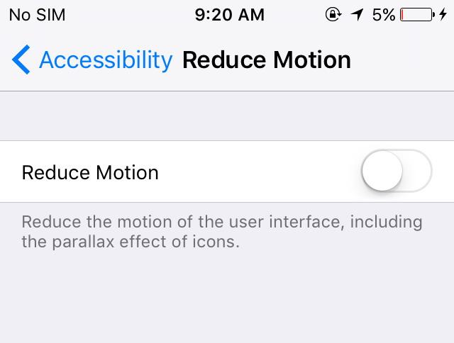 Désactiver Motion iOS 10