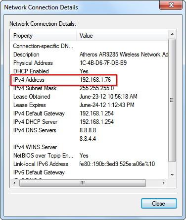 Détails de la connexion réseau
