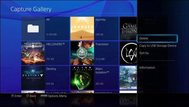 Nettoyer Captures d'écran et vidéos enregistrées playstation 4