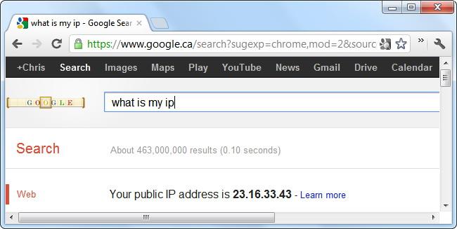 Recherche de votre adresse IP publique