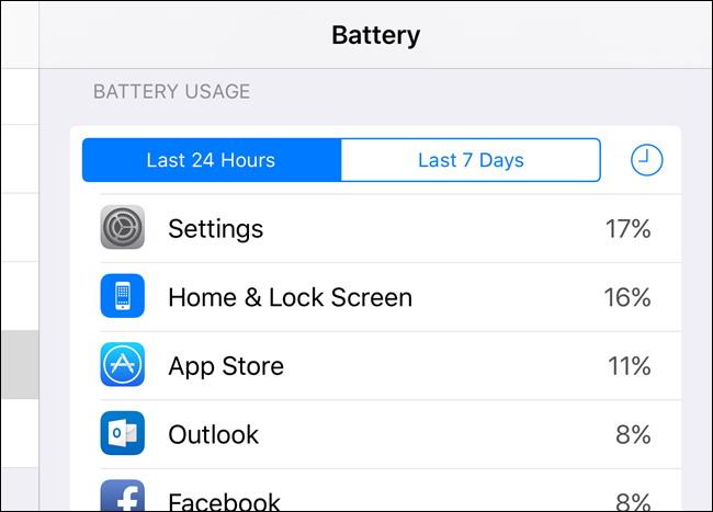 Utilisation Voir les applications par batterie 1