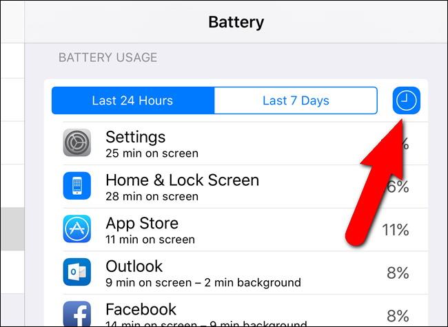 Utilisation Voir les applications par batterie 2