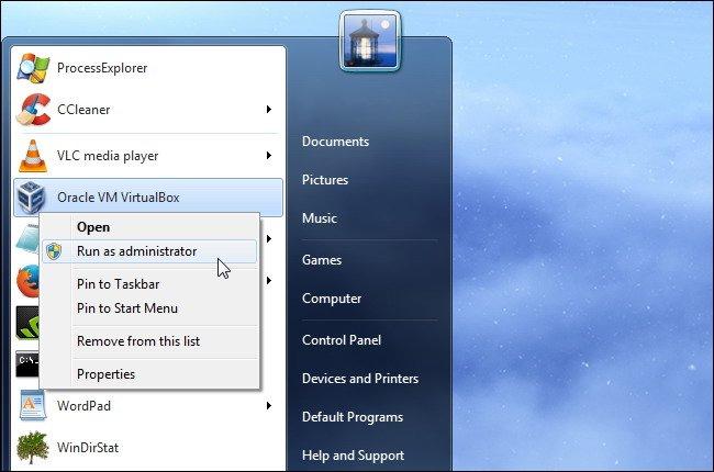 VirtualBox et sélectionnez Exécuter en tant qu'administrateur