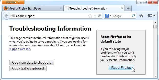 bouton Réinitialiser Firefox