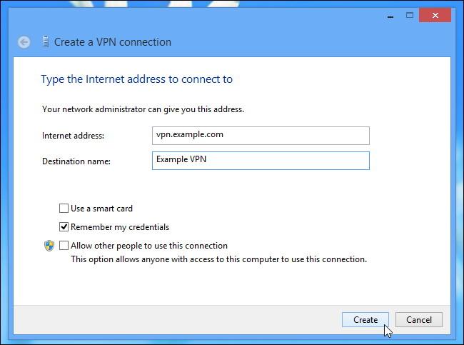 fenêtre de connexion VPN sur le bureau