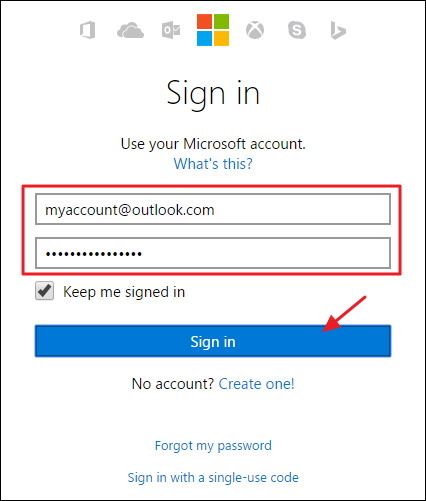 la page de compte Microsoft