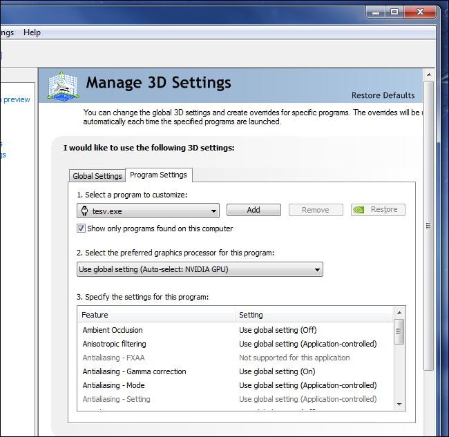 nvidia gérer les paramètres d'application 3d