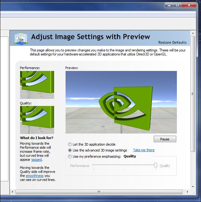 panneau de commande nvidia ajuster les paramètres d'image