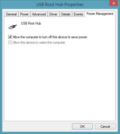 réglage pour un port USB