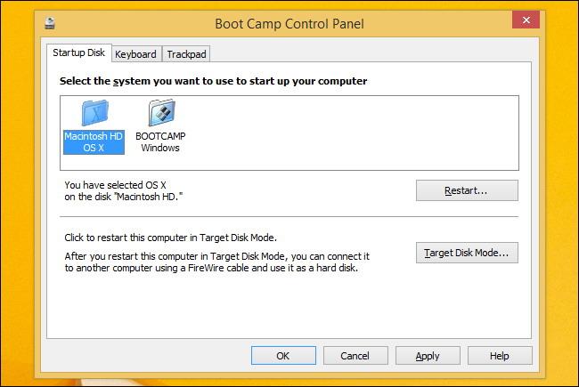 sélectionner un système d'exploitation par défaut avec bootcamp sur mac