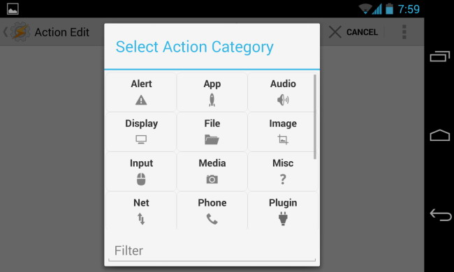 tasker l'action select