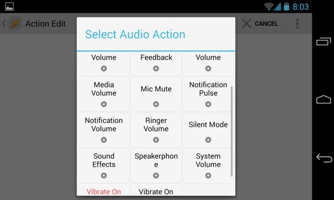 tasker sélectionner l'action audio