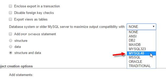 Base de données de déplacement Lorsque les versions de MySQL sont différents