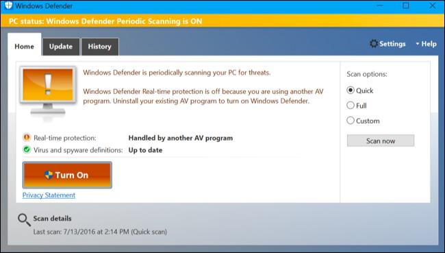 Comment faire pour obtenir un deuxième avis De Windows Defender