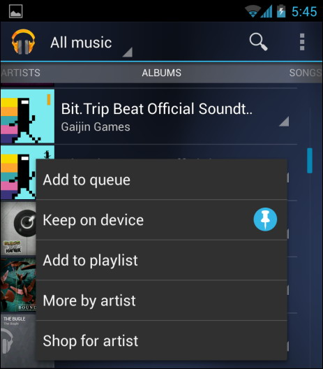 Google play musique keep on device