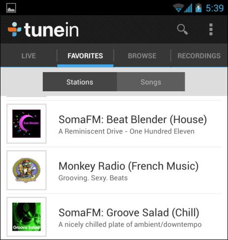Tunein radio sur Android