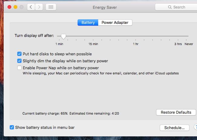 la batterie sur votre Mac