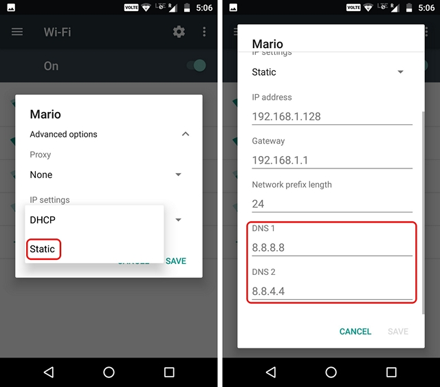 change-dns-wifi-android