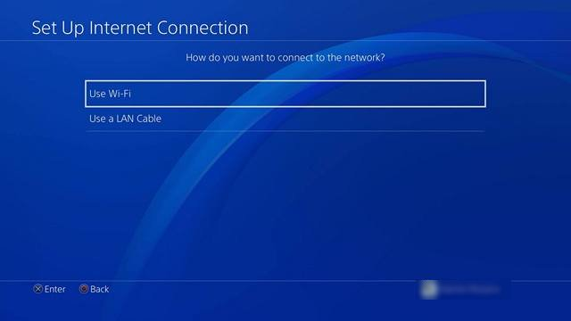 Set up internet connection on PS4